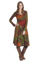 Robe mi-longue Olive Ethnique et Originale Tiphaine 285400