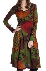 Robe mi-longue Olive Ethnique et Originale Tiphaine 286639
