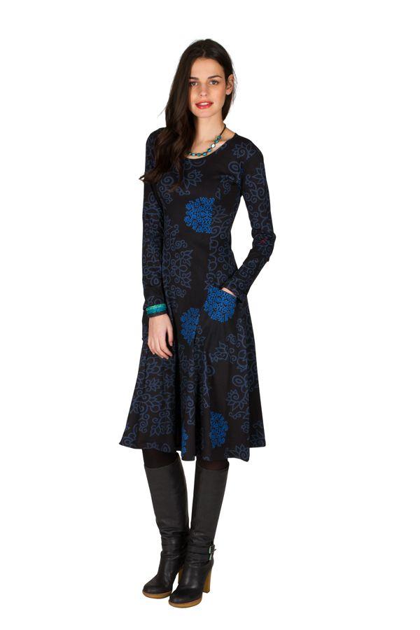 Robe mi-longue originale à manches longues et imprimés Nexa 301881