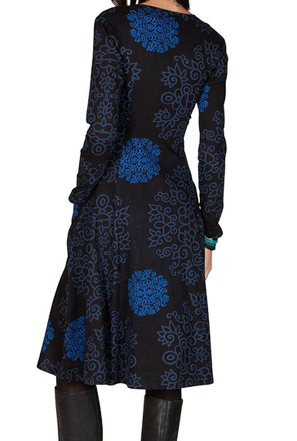 Robe mi-longue originale à manches longues et imprimés Nexa 301882