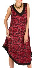Robe mi-longue originale avec col en V bordeaux Berry 293226