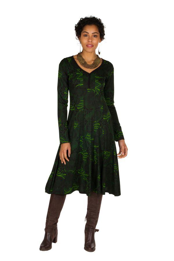 Robe mi-longue originale avec imprimés Portiana 302398
