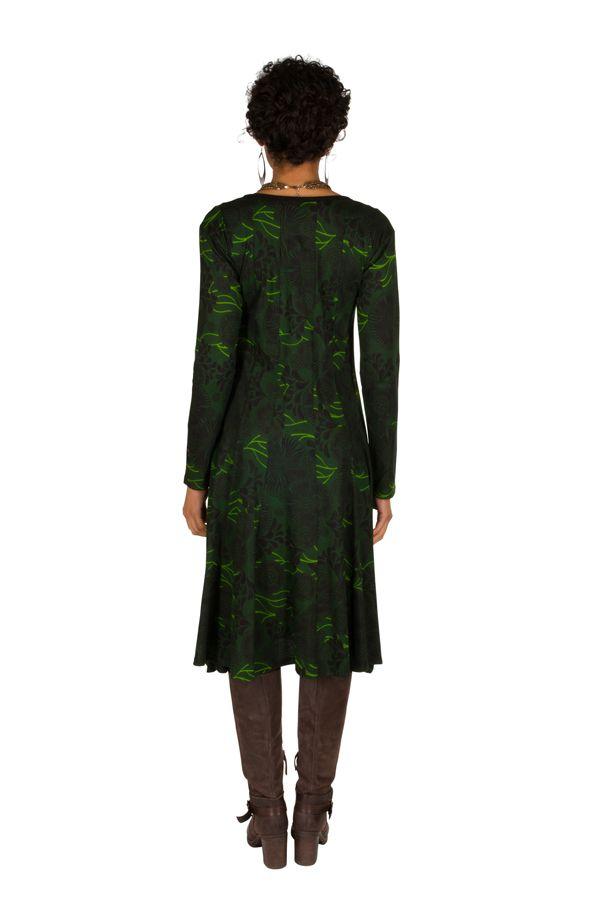 Robe mi-longue originale avec imprimés Portiana 302400
