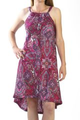 robe mi-longue originale avec motifs de style indien fuchsia Shirley 290878