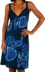 Robe mi-longue originale bleue marine en coton Jade 307485