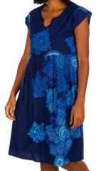 Robe mi-longue originale bleue marine femme Margot