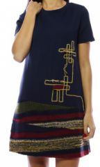 Robe mi-longue originale et chic avec effet jupe marine&rouge Denise 302688