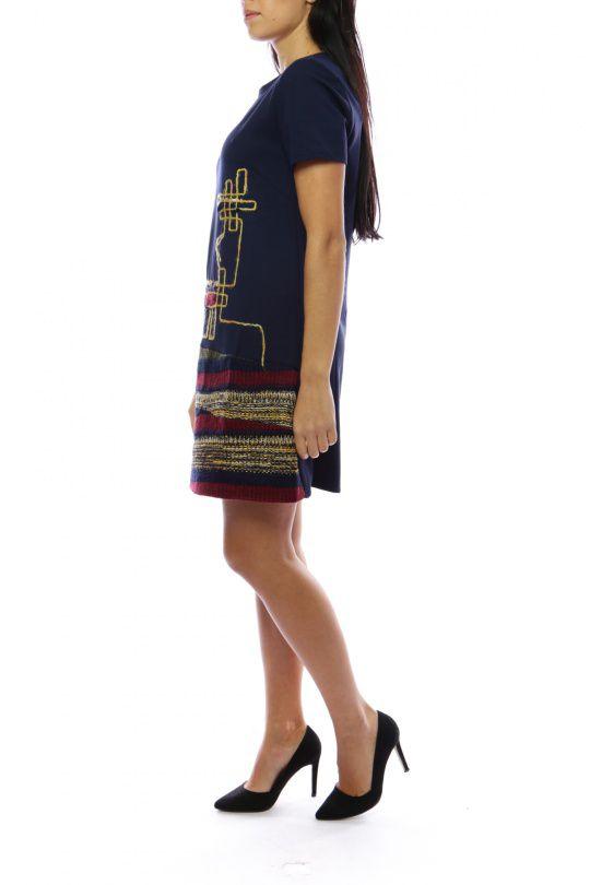 Robe mi-longue originale et chic avec effet jupe marine&rouge Denise 302689