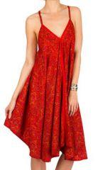 Robe Mi-Longue Originale et Colorée Rouge Yavanan 292112