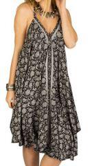 Robe mi-longue Originale et Ethnique Noire et Grise Asita 292129