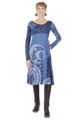Robe mi-longue Originale et Ethnique Tiphaine Bleue 285398