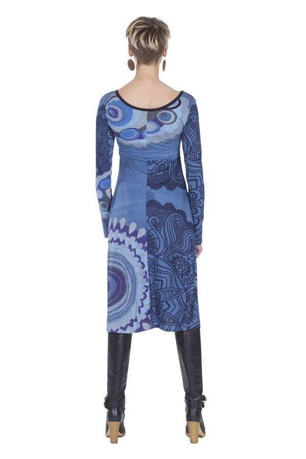 Robe mi-longue Originale et Ethnique Tiphaine Bleue 285399