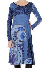 Robe mi-longue Originale et Ethnique Tiphaine Bleue 286640