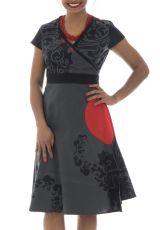 Robe mi-longue portefeuille Originale et Féminine Alizée Grise 292373