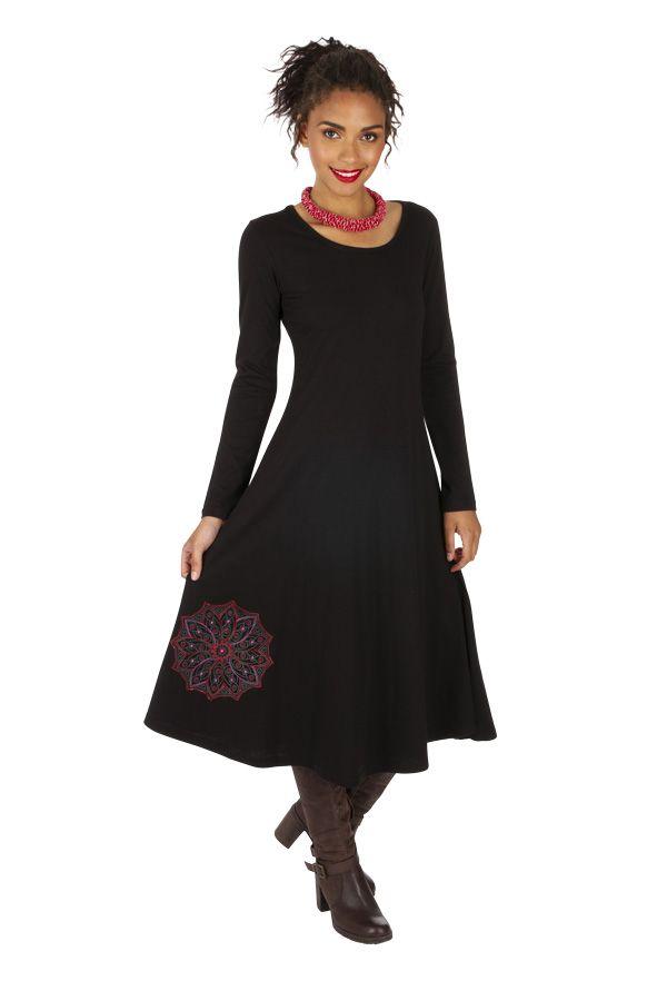 Robe mi-longue pour femme ethnique et brodée Paoua 313869