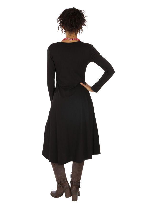 Robe mi-longue pour femme ethnique et brodée Paoua 313870
