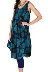 Robe mi-longue rétro et asymétrique avec imprimés bleus Adélie 296304