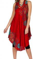 Robe mi-longue rouge et fluide avec un imprimé floral Tara 296086
