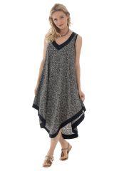 robe mi-longue sobre avec col v et coupe originale Aradan 289851