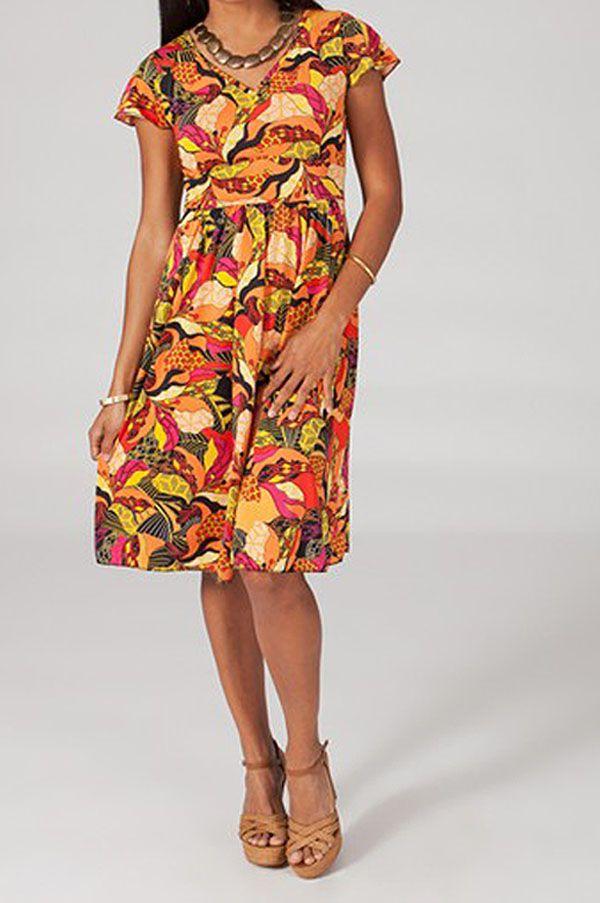 Robe mi-longue style ethnique à col en V Cinthya 3 318810