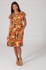 Robe mi-longue style ethnique à col en V Cinthya 3 318811