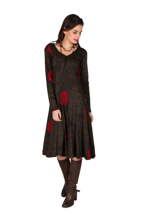 Robe mi-longue style hippie avec imprimé floral Pommy 302390
