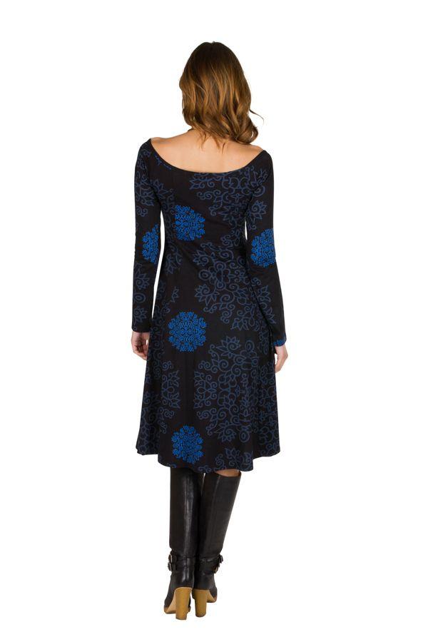 Robe mi-longue tendance à large col rond et imprimés Oceara 301224