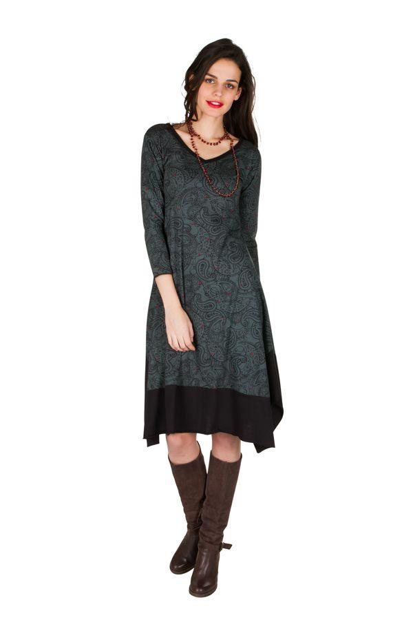 Robe mi-longue tendance et asymétrique coupe Flare imprimé Paisleys Mirta 301301
