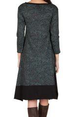 Robe mi-longue tendance et asymétrique coupe Flare imprimé Paisleys Mirta 301303