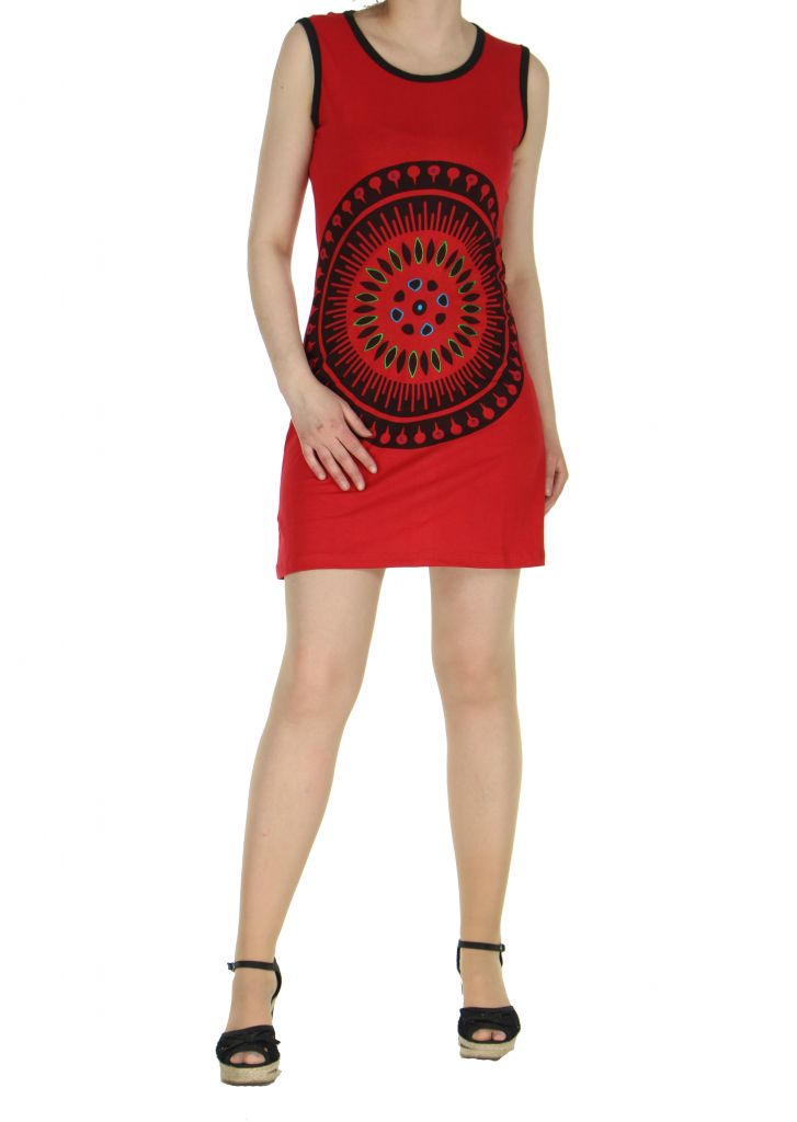 Robe motif tribal rouge Mathaz 268334