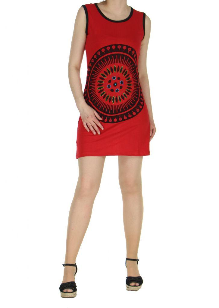 Robe motif tribal rouge Mathaz 268334