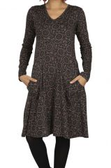 Robe noire à imprimé fleurs pour l\'hiver Maxime