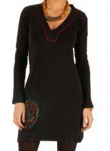 Robe noire à manches longues agréable et originale Domoni 313907
