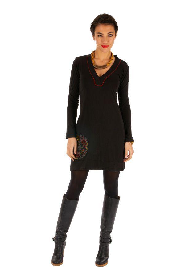 Robe noire à manches longues agréable et originale Domoni 313908
