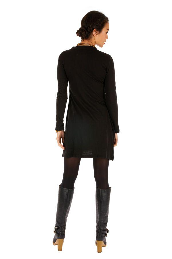 Robe noire à manches longues agréable et originale Domoni 313909