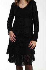 Robe noire bohème avec de la dentelle et des broderies 288067