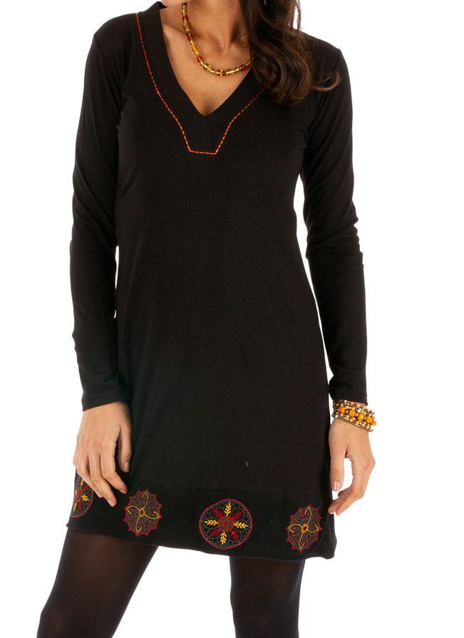 Robe noire courte avec imprimés en coton hiver Monia 313323