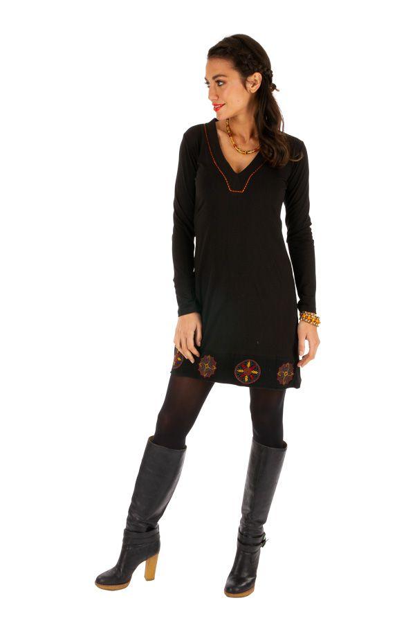 Robe noire courte avec imprimés en coton hiver Monia 313324
