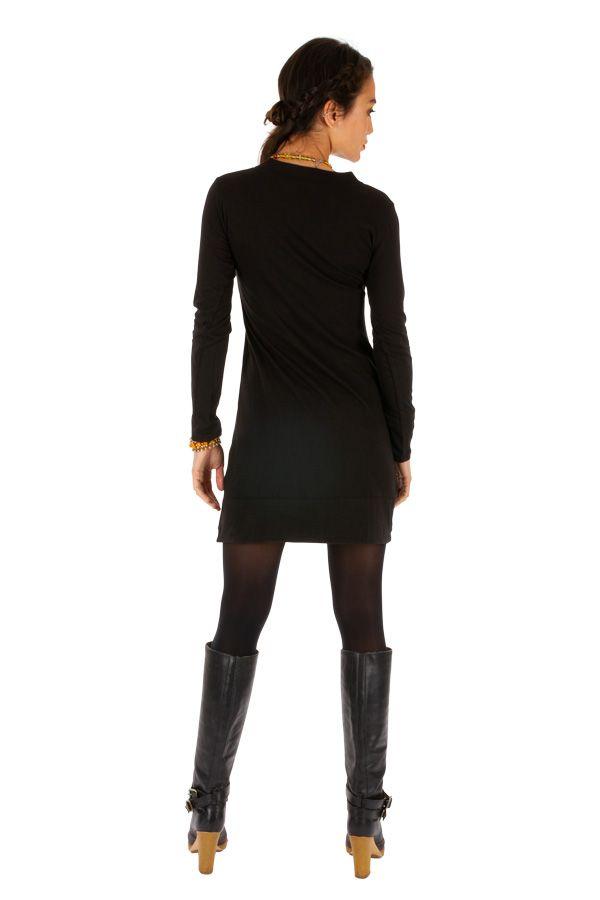 Robe noire courte avec imprimés en coton hiver Monia 313325