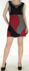 Robe noire courte colorée et ethnique en coton Dejame 270713