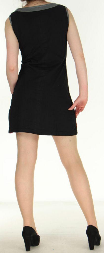 Robe noire courte colorée et ethnique en coton Dejame 270714