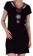 Robe Noire courte Ethnique et Imprimée Mandalas Tajina 282810