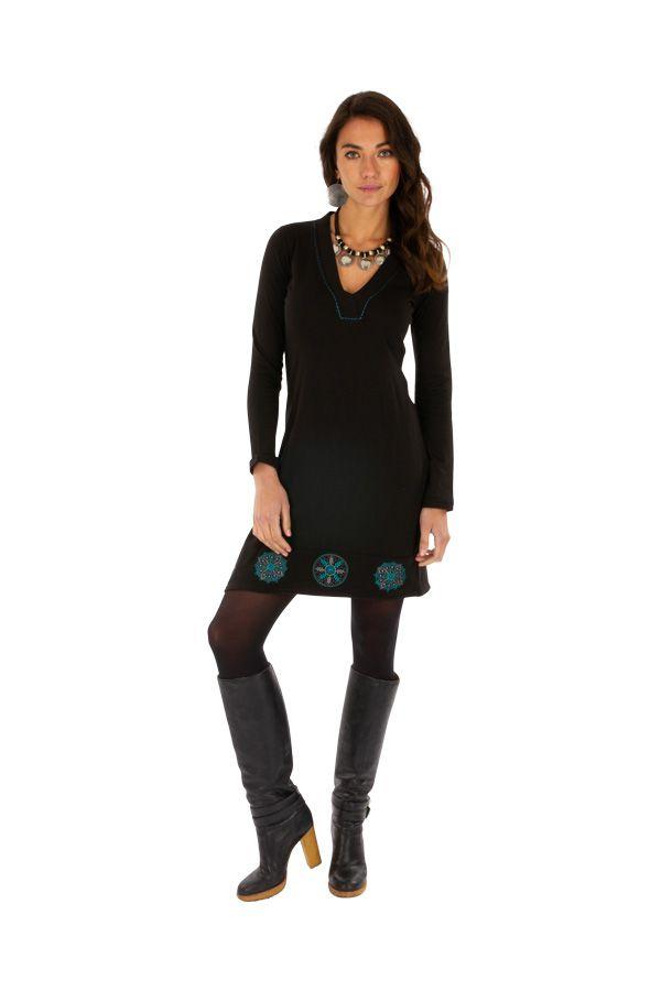 Robe noire de soirée originale chic ethnique avec imprimés Monia 313313