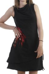 Robe noire en coton à encolure drapée avec dreamcatcher coloré Darcy 296421