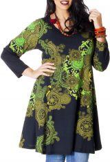 Robe Noire en Grande taille Imprimée et Evasée Crystal 286985