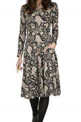 Robe noire et blanche look chic avec imprimé Sana