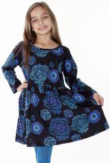 Robe noire et bleue élastiquée à la taille pour enfant 287288