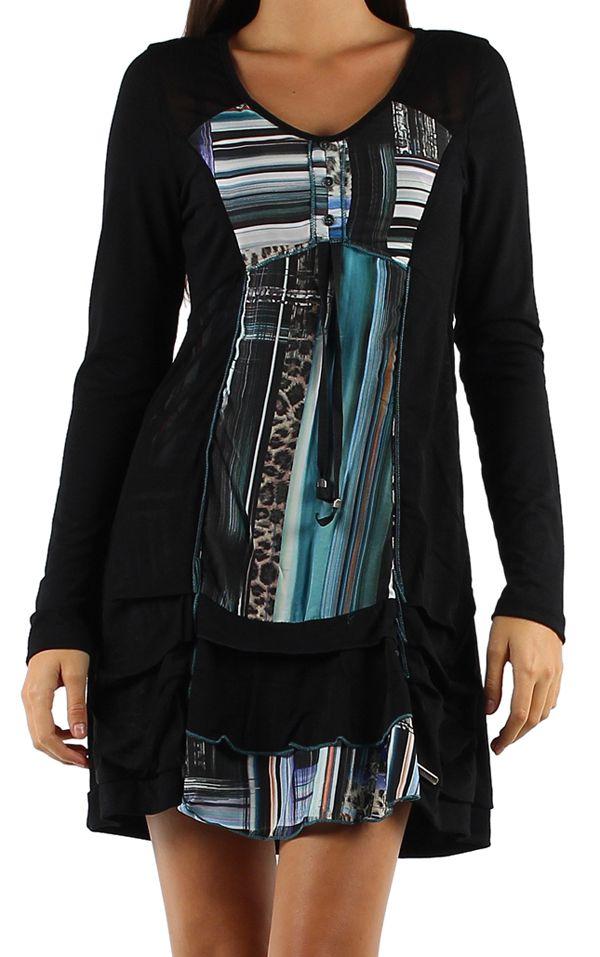 Robe noire et colorée à manches longues et imprimés bleues Julia 304372