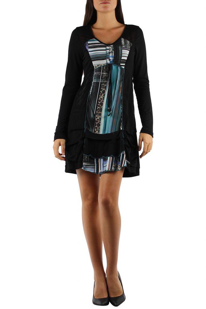 Robe noire et colorée à manches longues et imprimés bleues Julia 304373