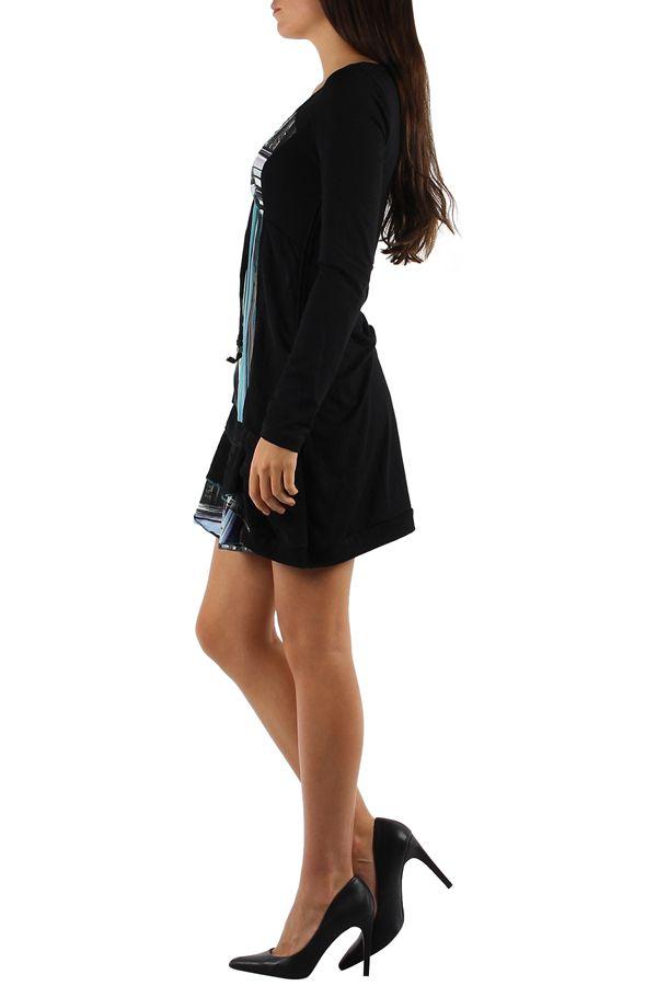 Robe noire et colorée à manches longues et imprimés bleues Julia 304374